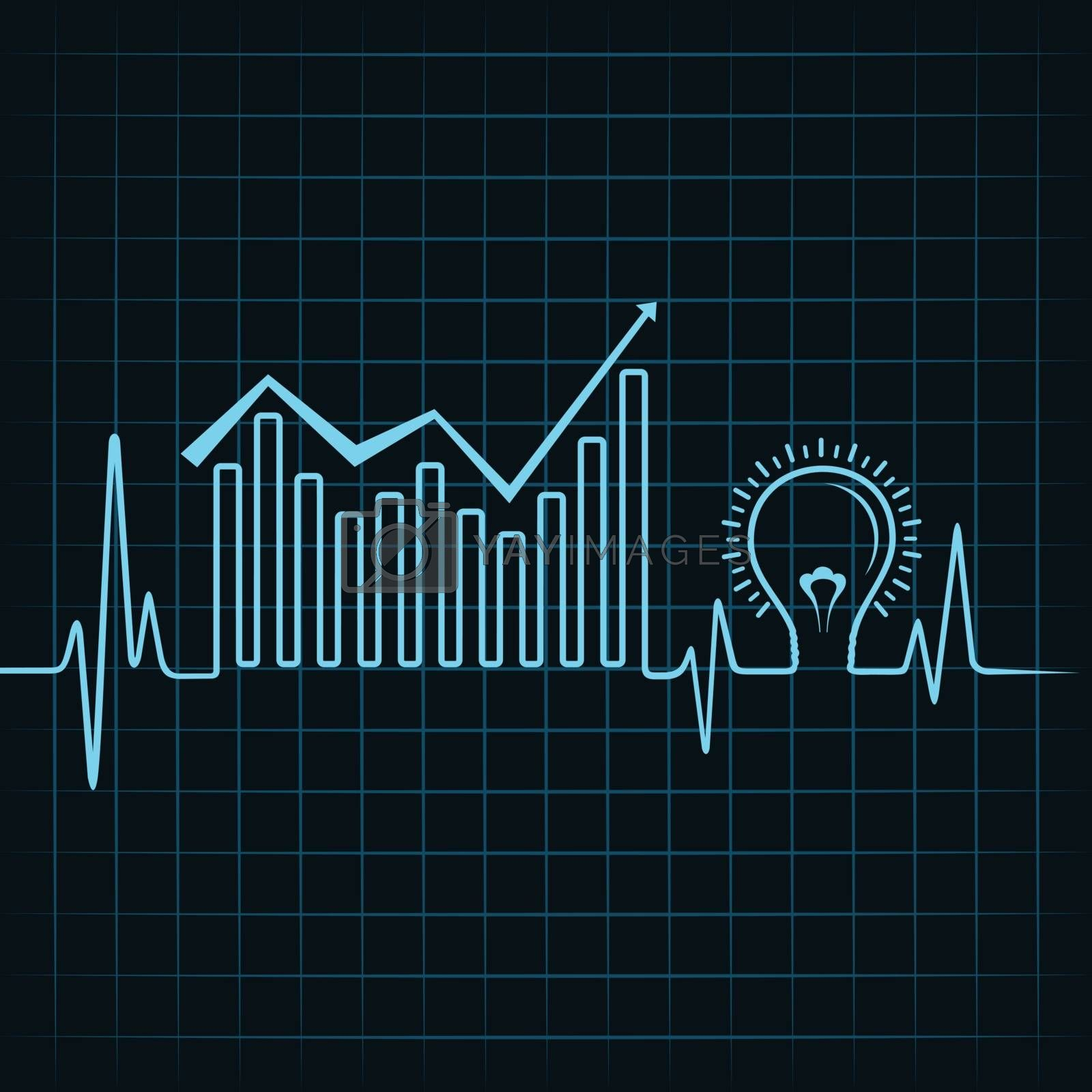 heartbeat make business graph and light-bulb stock vector