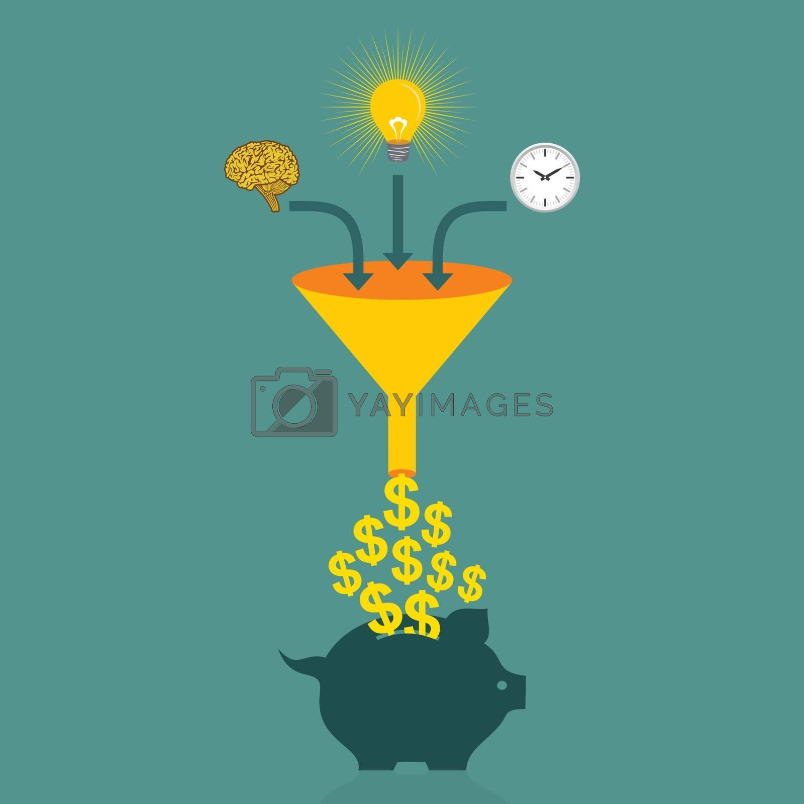 save money in piggy bank concept vector