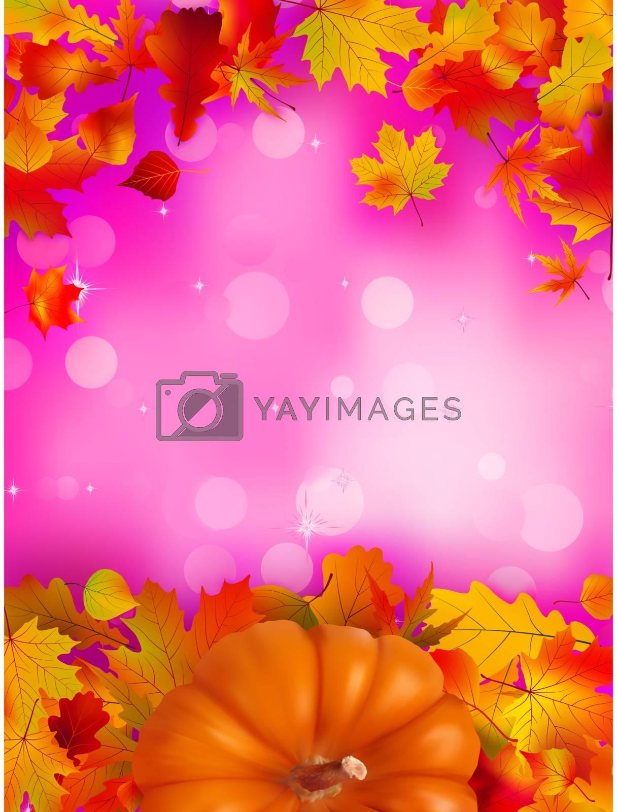 Orange Pumpkin on elegant pink bokeh. EPS 8 vector file included