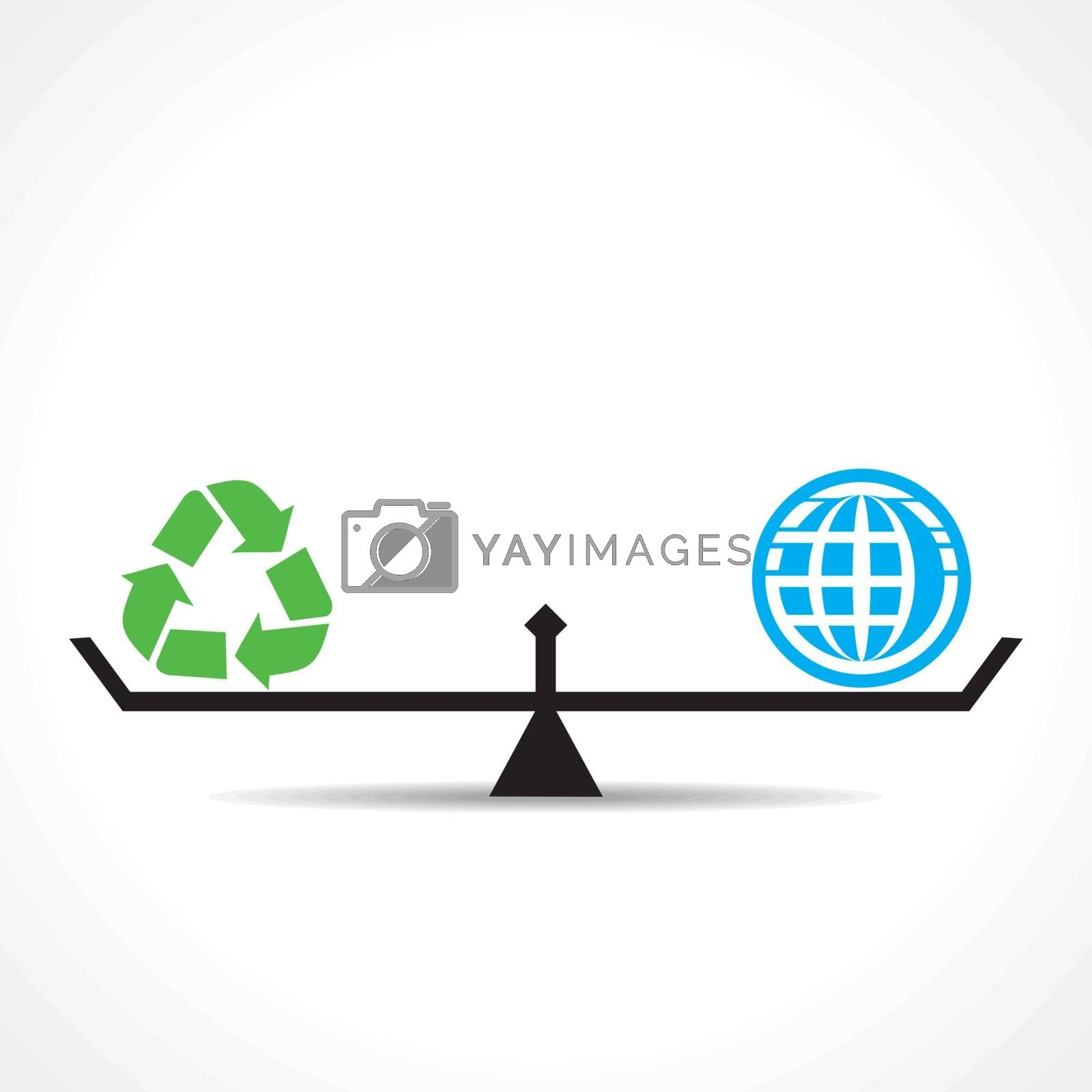 recycle symbol and global both are equal , go green and save earth concept vector