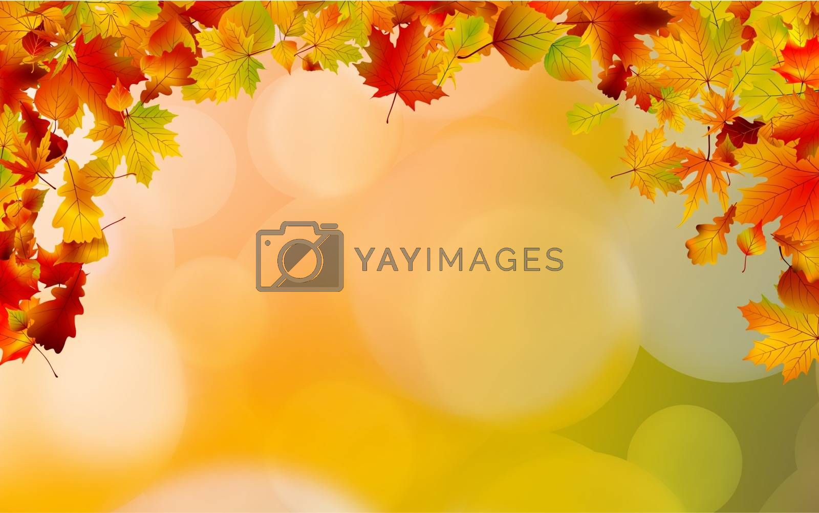 Autumn colored leaves framing large space for copy. EPS 8 vector file included