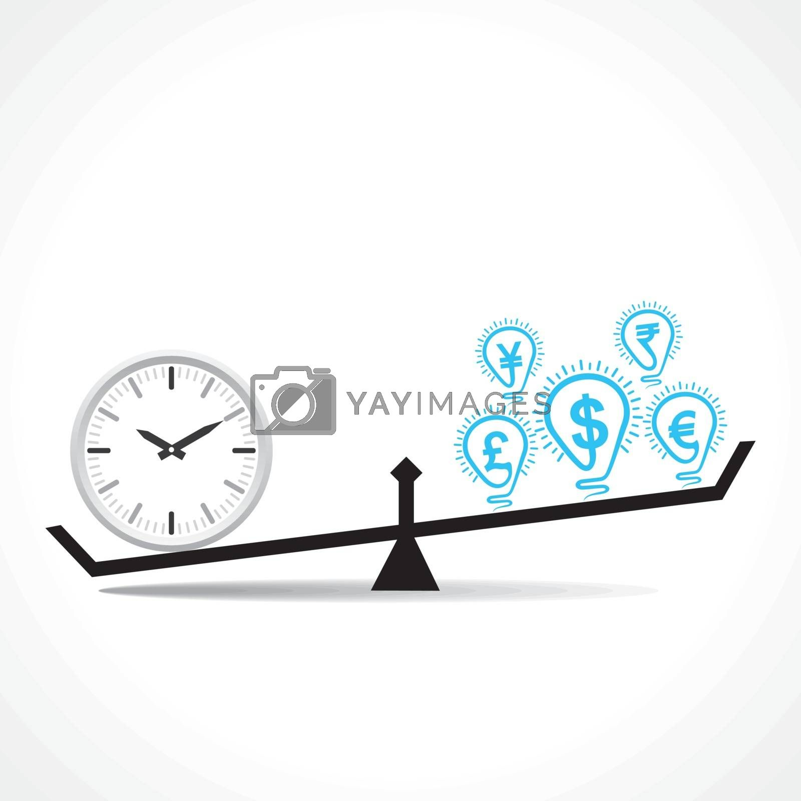 compare clock and dollar bulb , time is money conceptual vector
