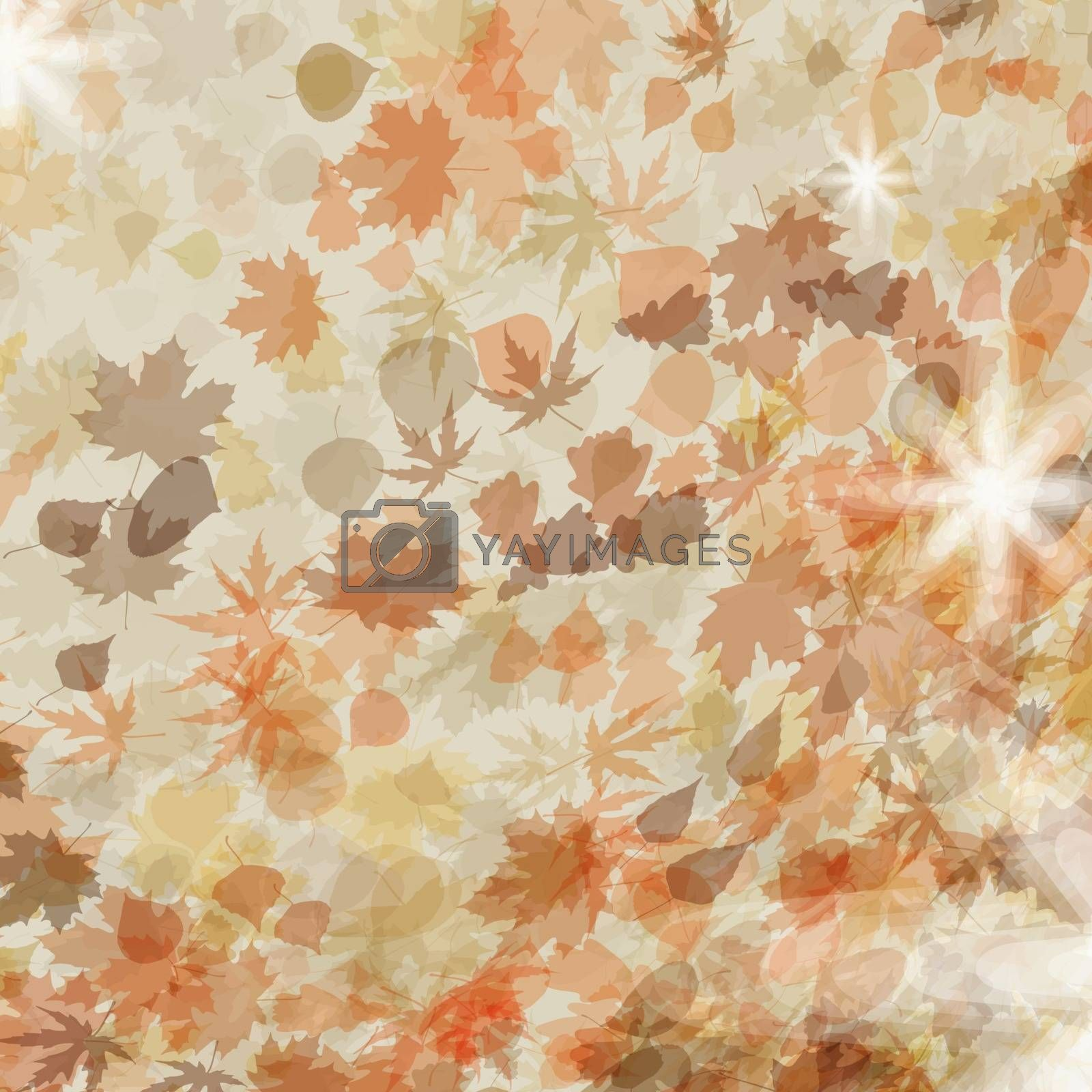Autumn leaves. Seasonal template design. EPS 8 by Petrov_Vladimir