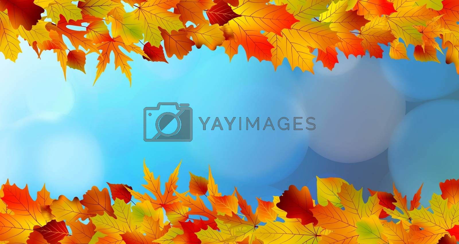 Red and yellow leaves against a bright blue sky by Petrov_Vladimir