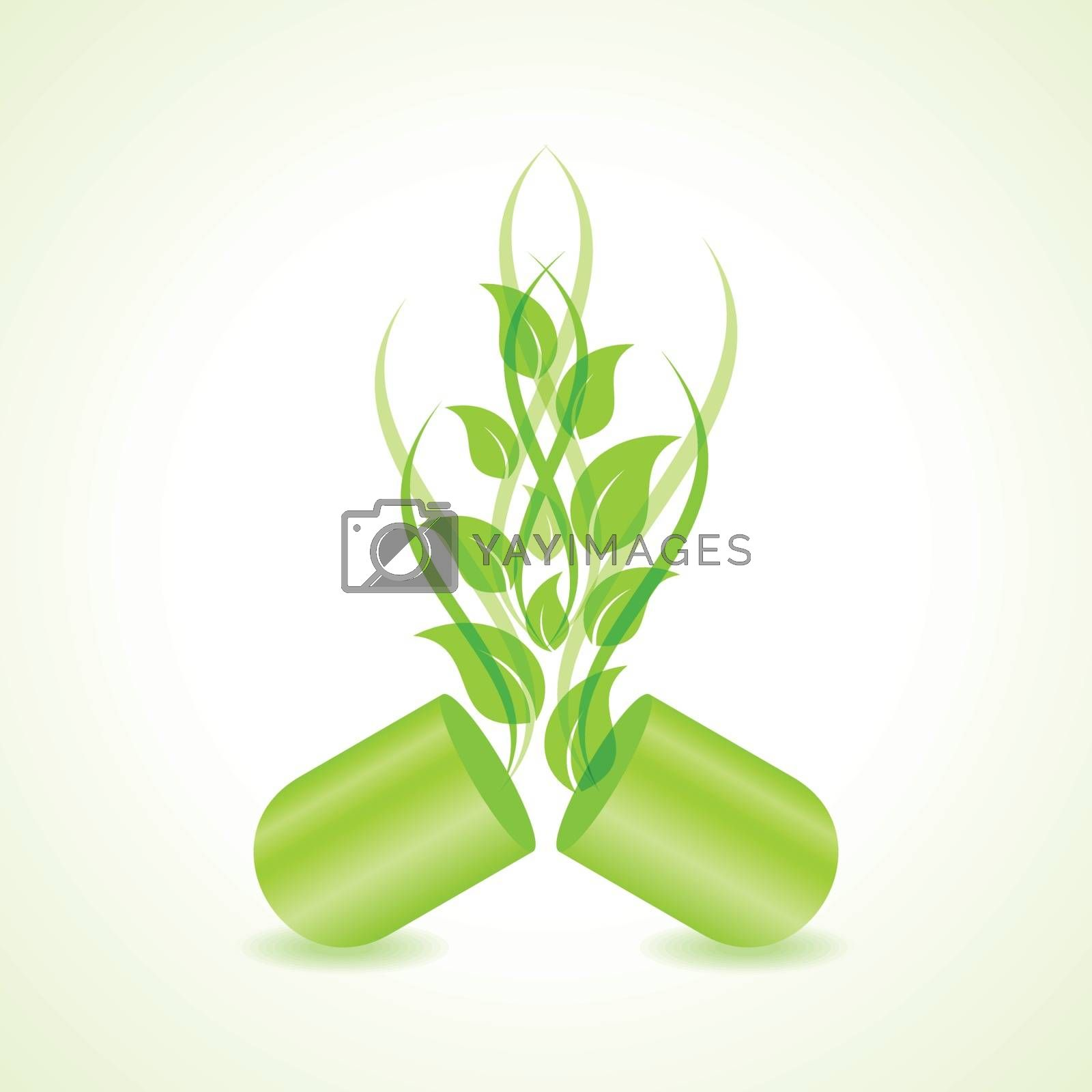 herbal or eco friendly capsule concept vector
