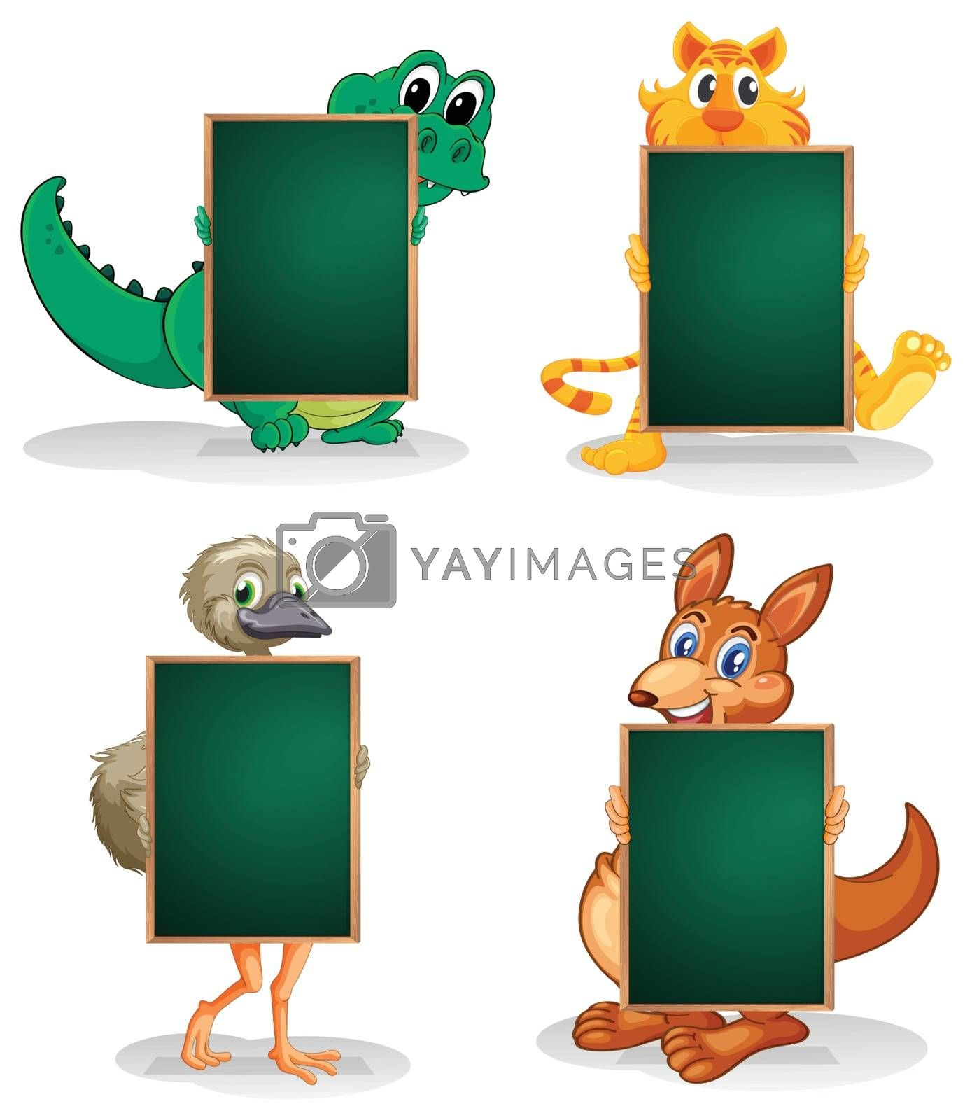 Illustration of the four animals at the back of the empty blackboards on a white background