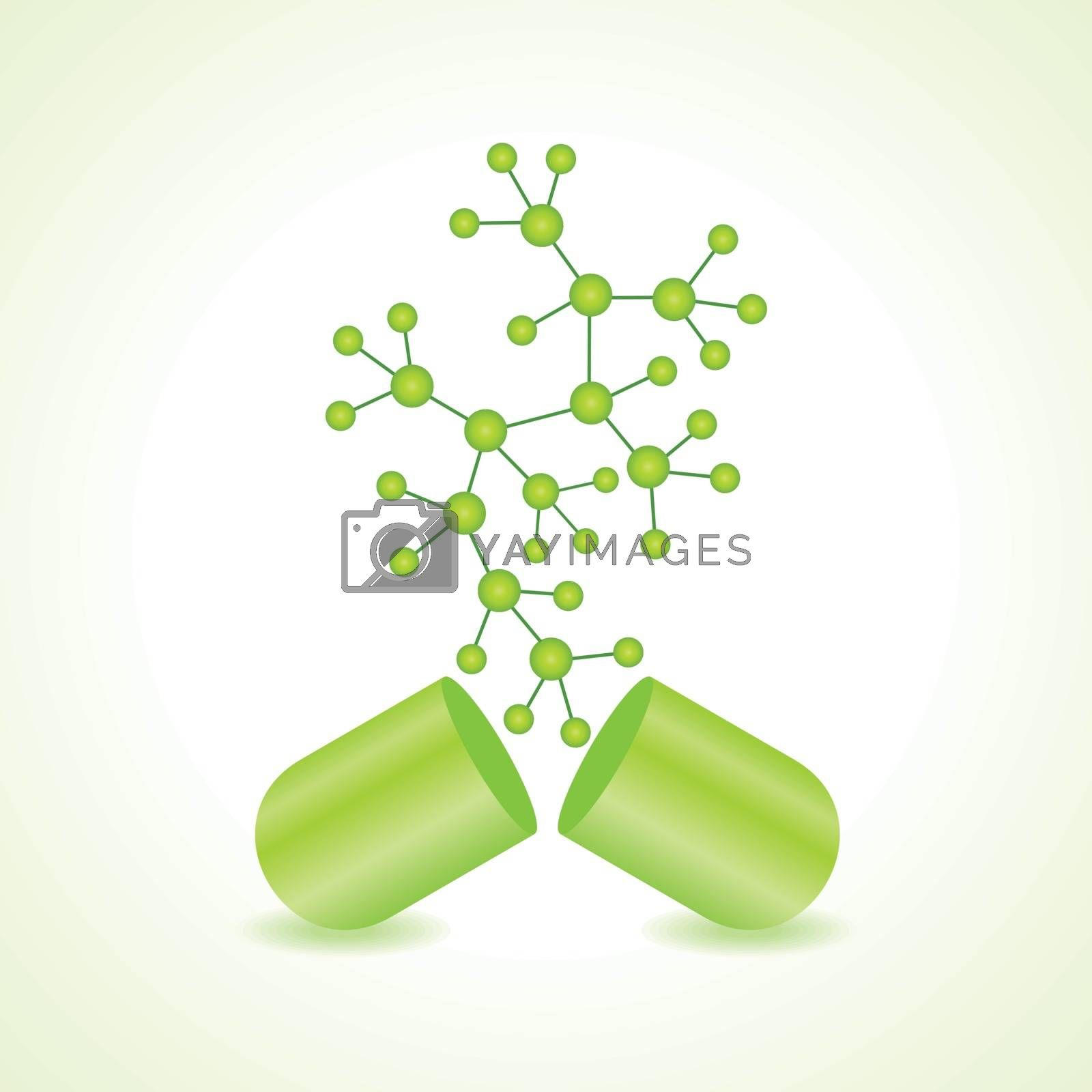 3d eco chemical atomic structure molecule model with capsule vector illustration