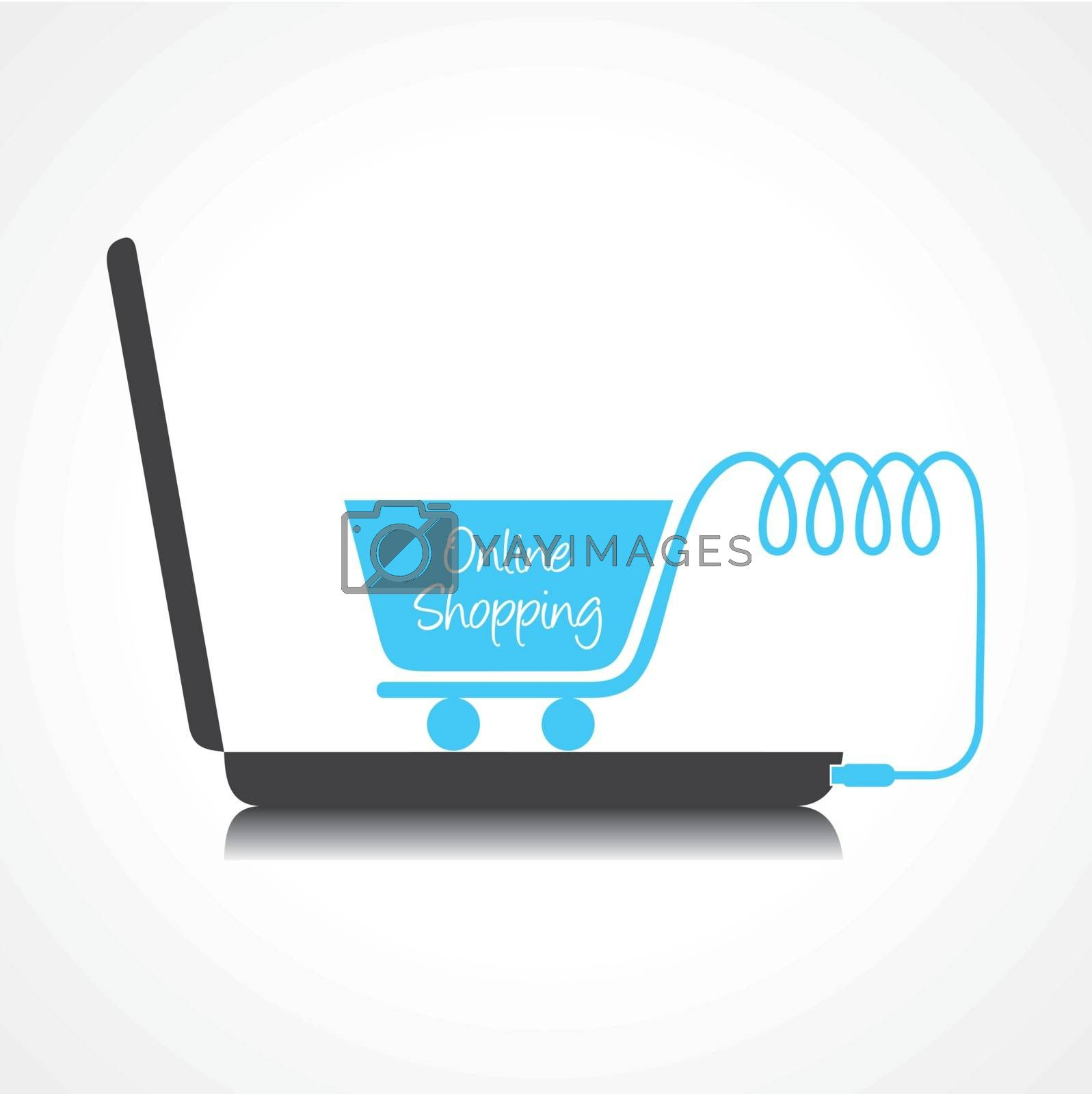 Online shopping concept with shopping cart and laptop stock vector