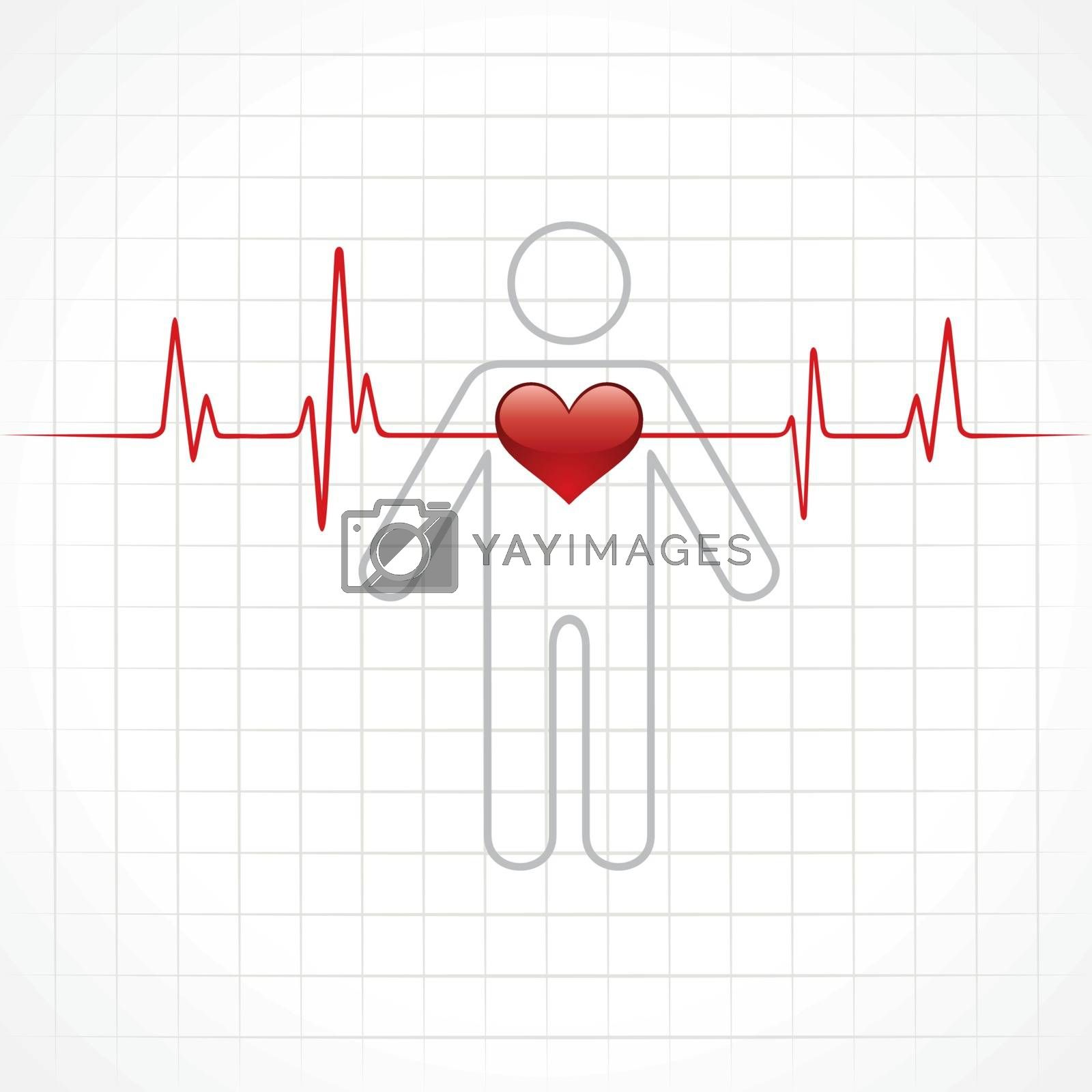 heartbeat across in man stock vector