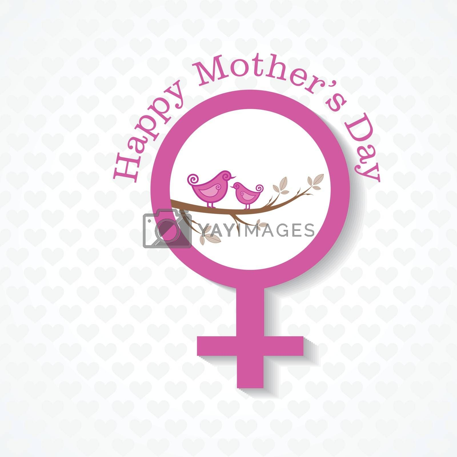 Mothers day greeting with female face and symbol stock vector