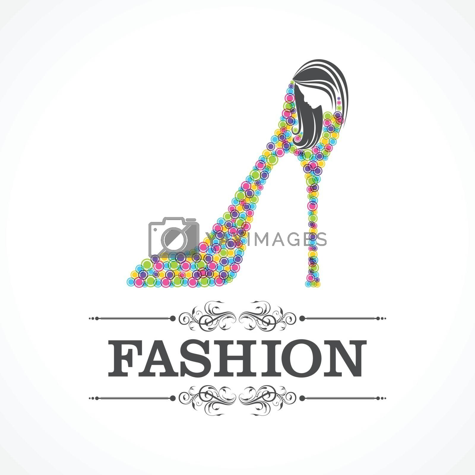 Beauty and fashion icon with shoe and face stock vector