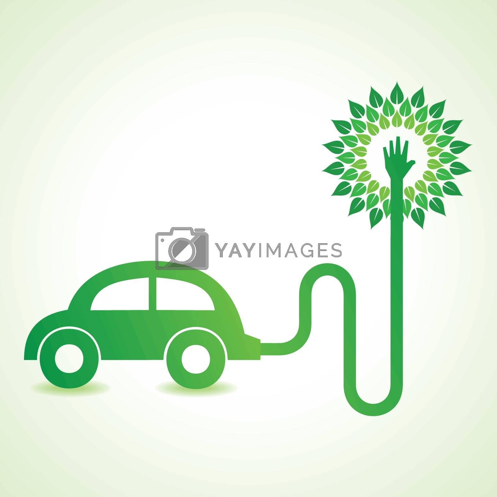 Electric car with green tree concept