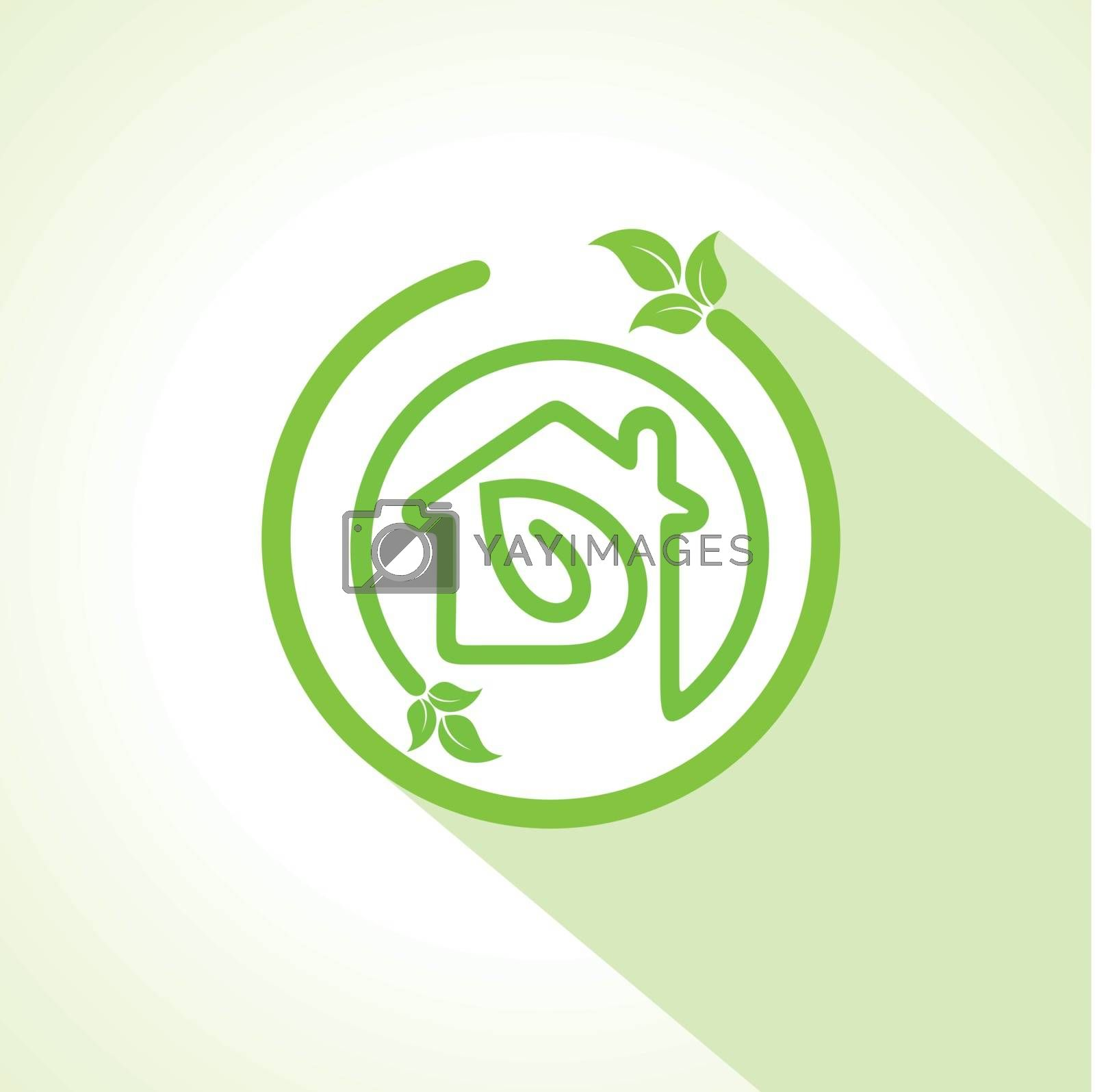 Eco home icon with leaf