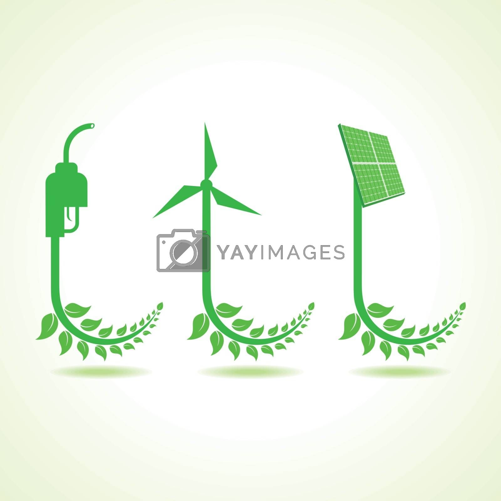 Eco icon with nozzle,wind-mill and solar panel