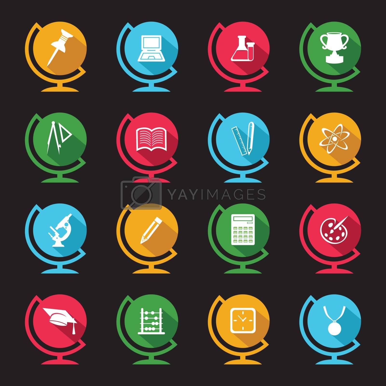 Set of educational icons on globe design