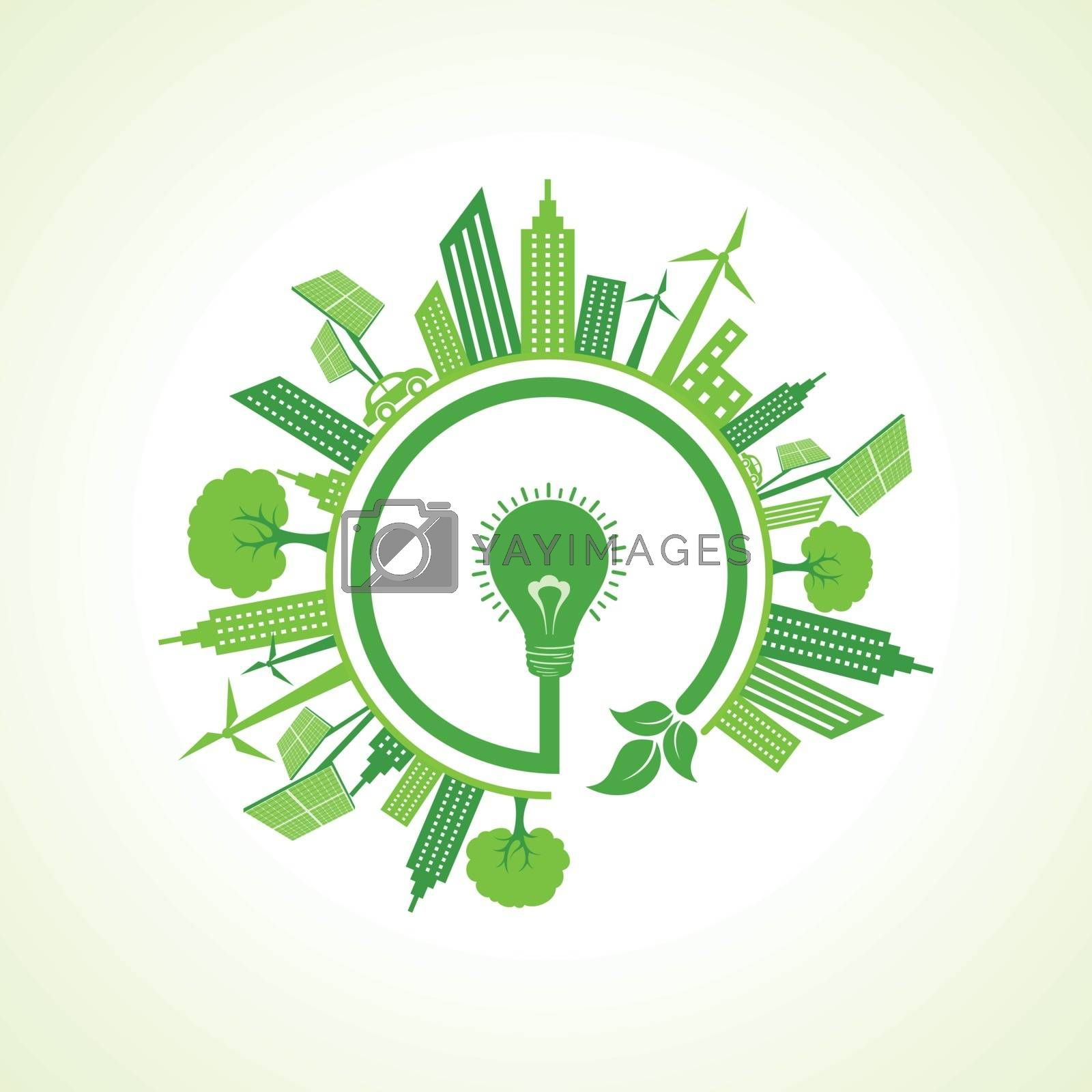 Ecology concept with eco bulb