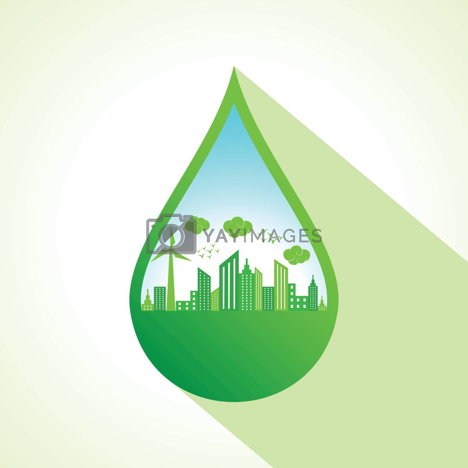 Ecology concept with water drop stock vector