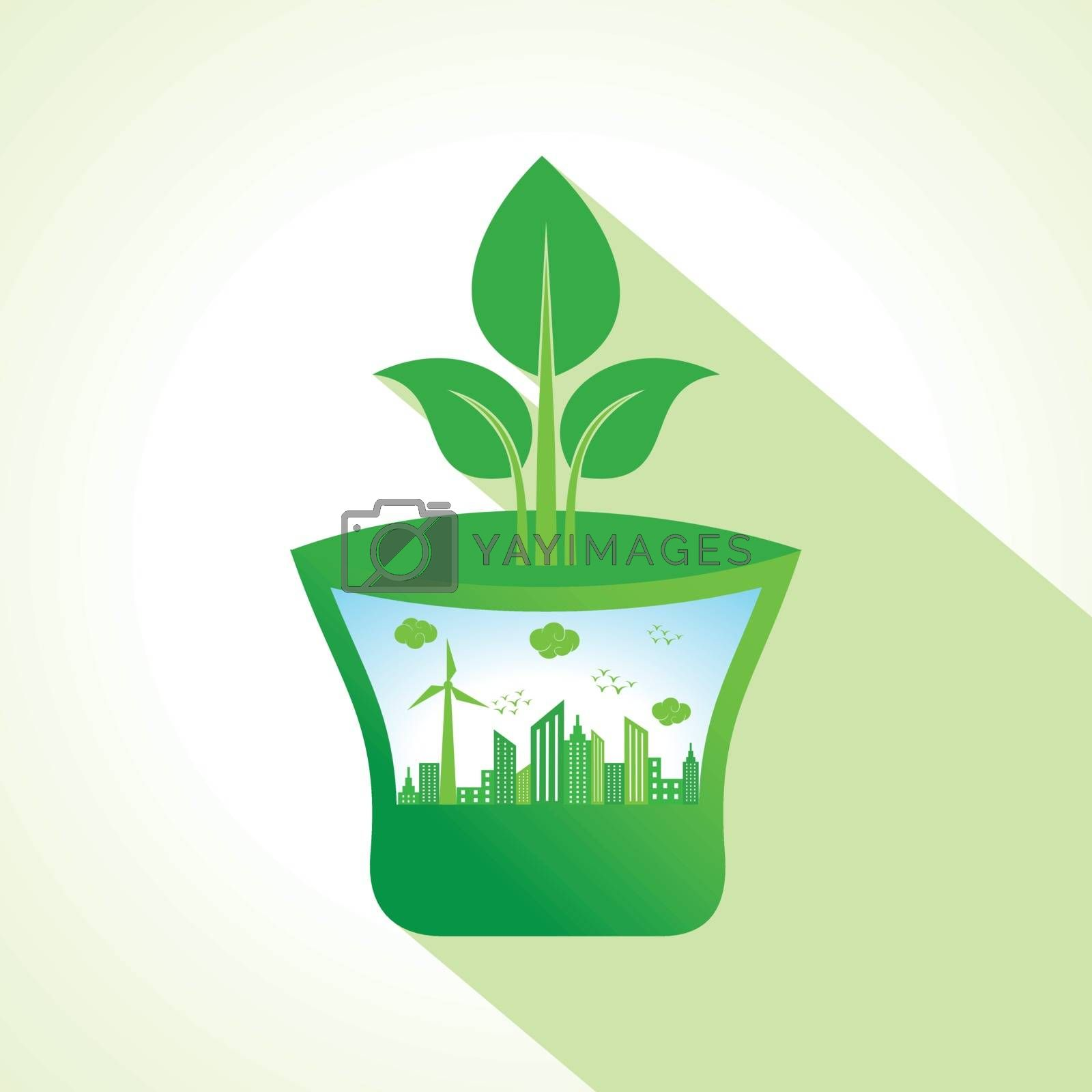 Ecology concept with pot stock vector