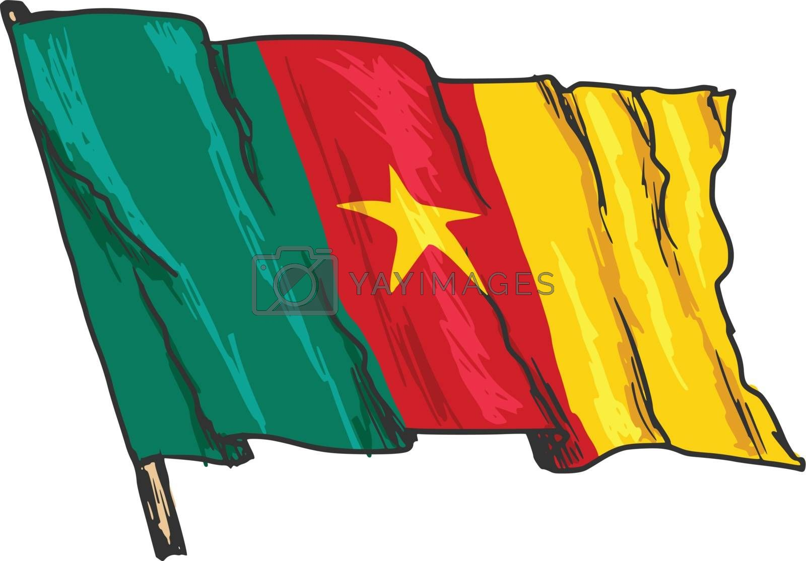 hand drawn, sketch, illustration of flag of Cameroon