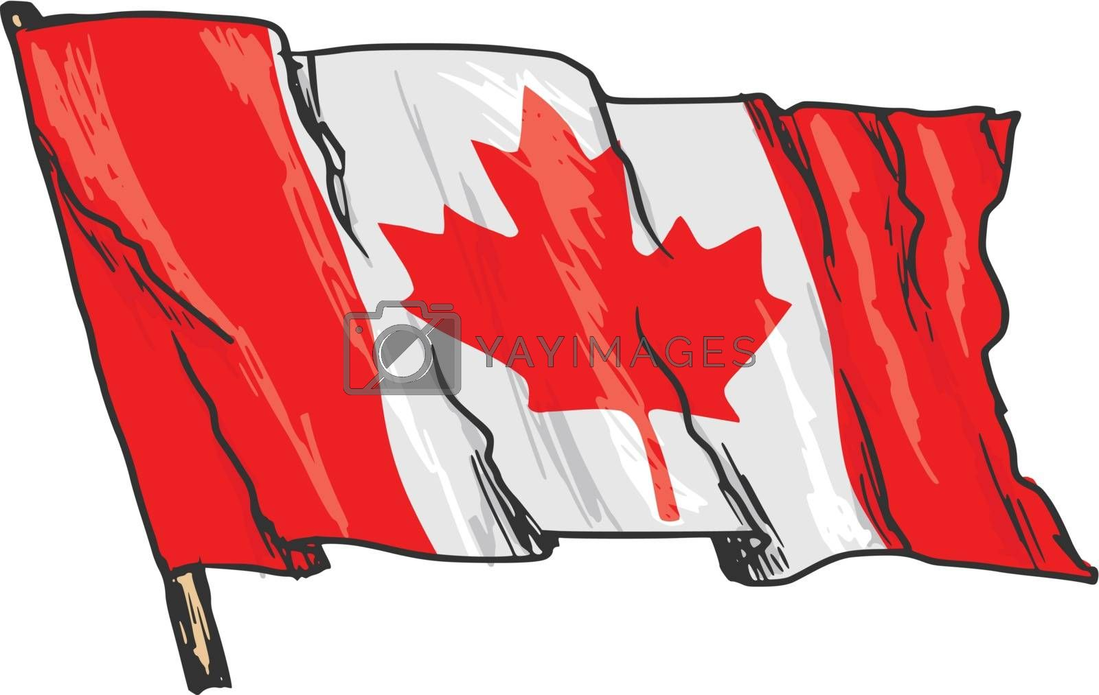 hand drawn, sketch, illustration of flag of Canada