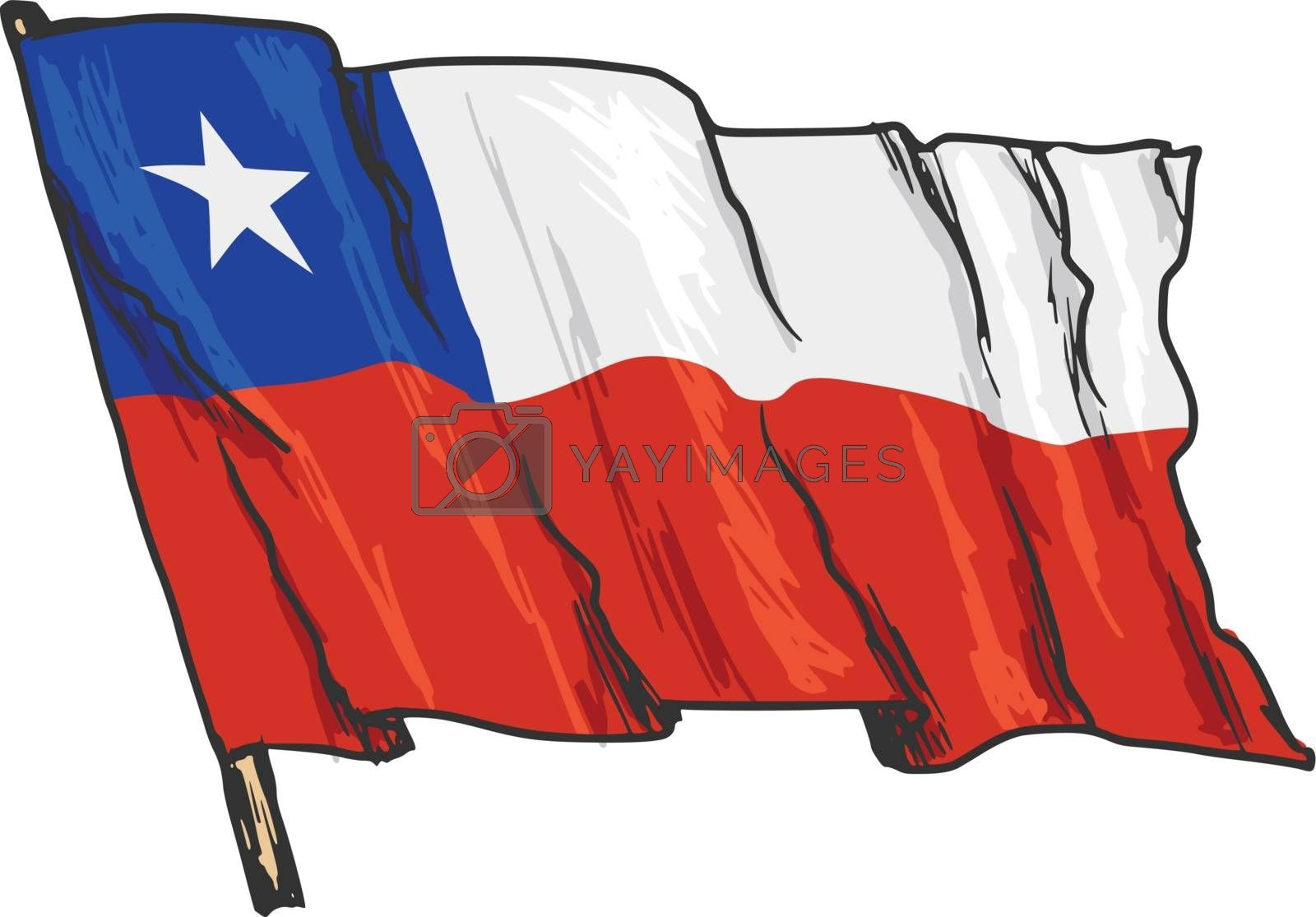 hand drawn, sketch, illustration of flag of Chile