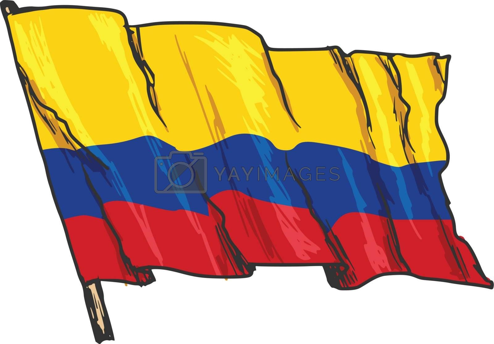 hand drawn, sketch, illustration of flag of Colombia