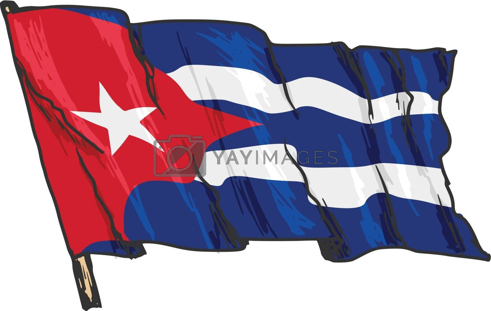 hand drawn, sketch, illustration of flag of Cuba