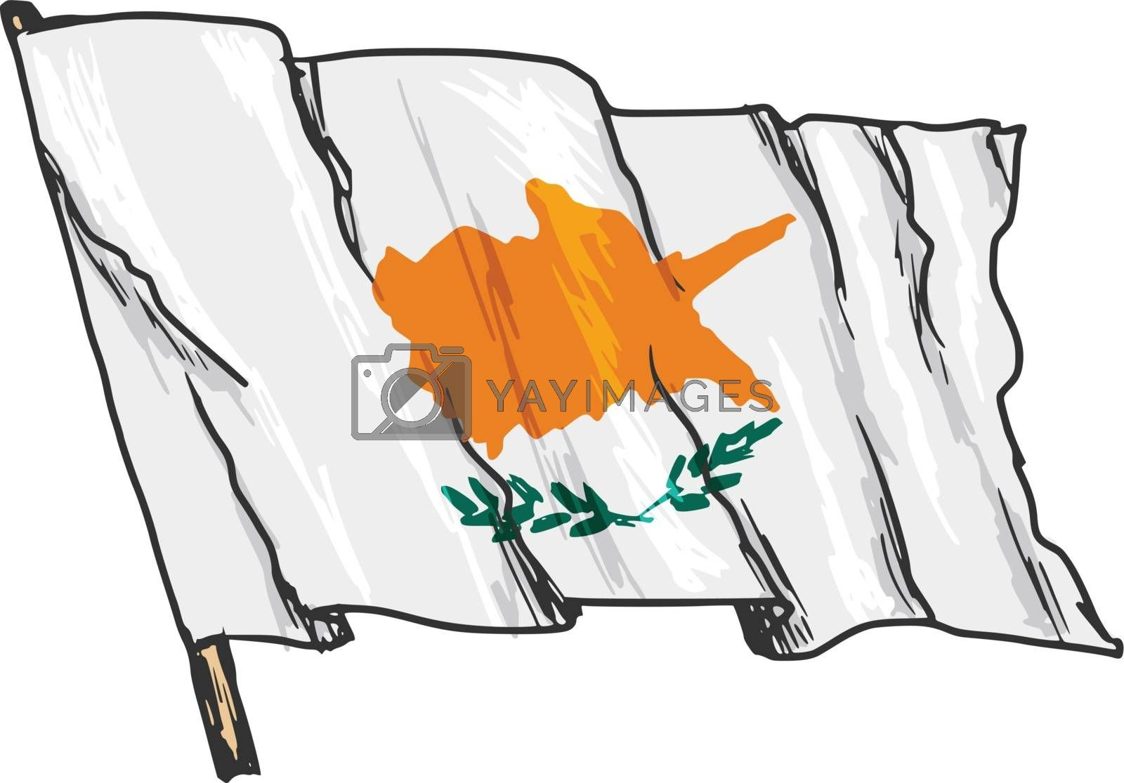 hand drawn, sketch, illustration of flag of Cyprus
