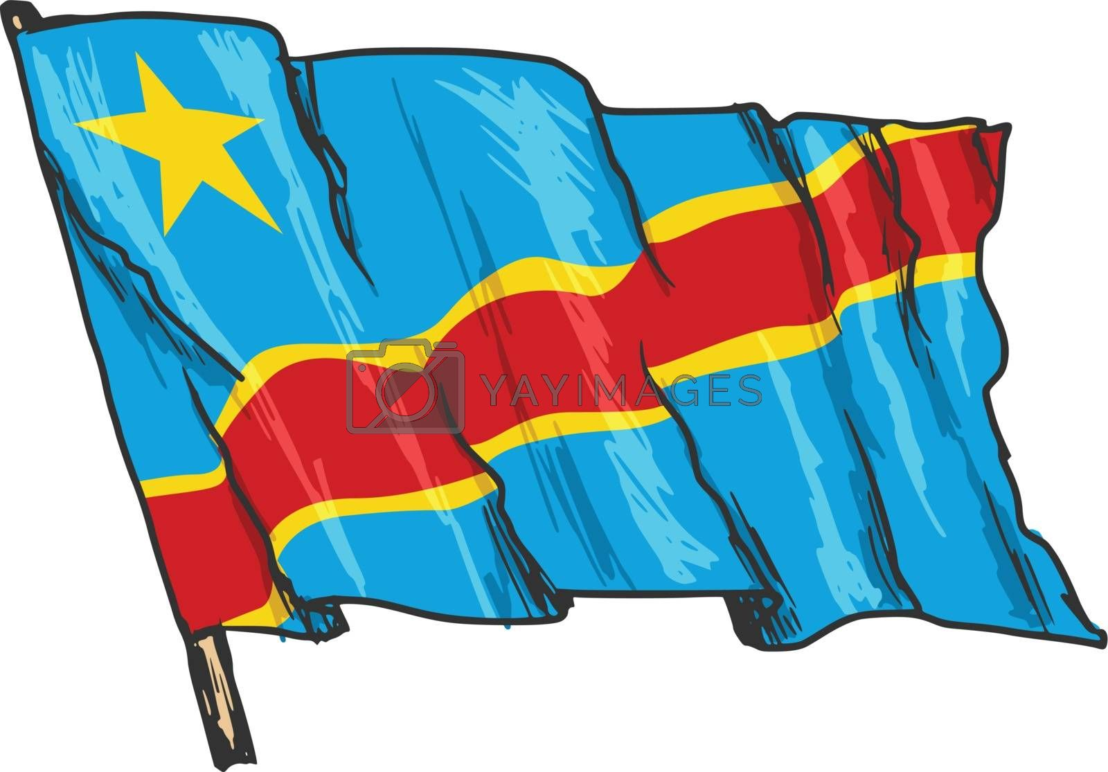 hand drawn, sketch, illustration of flag of Democratic Republic of the Congo