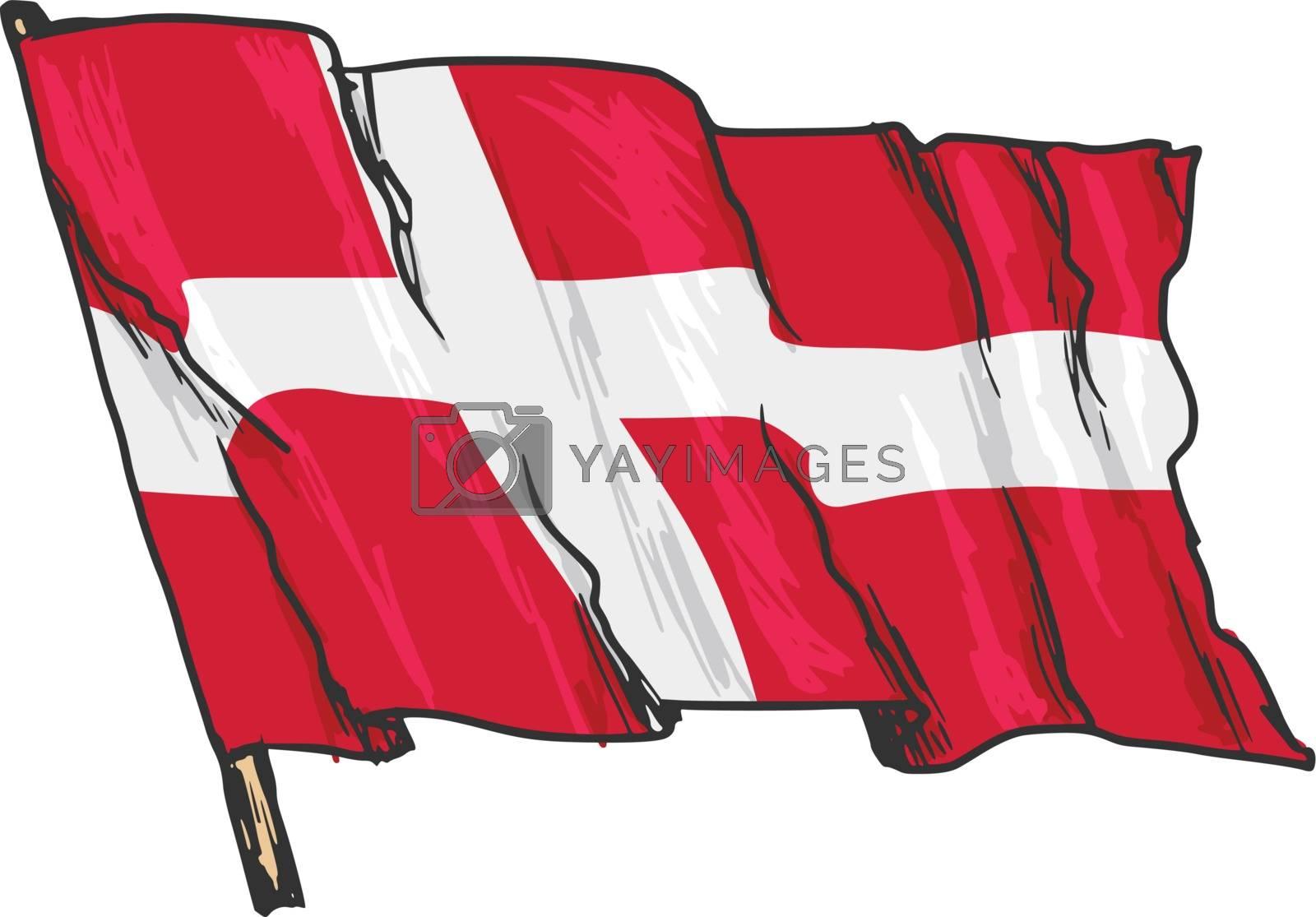 hand drawn, sketch, illustration of flag of Denmark