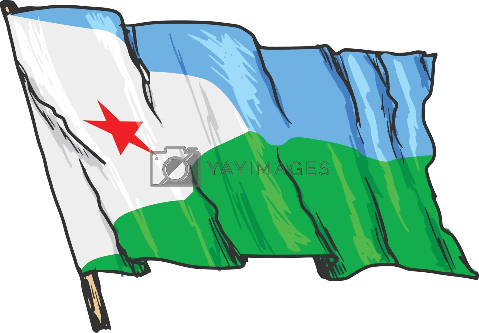 hand drawn, sketch, illustration of flag of Djibouti