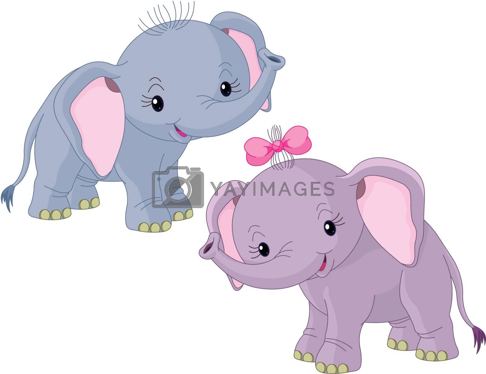 Two Cute Babies elephants