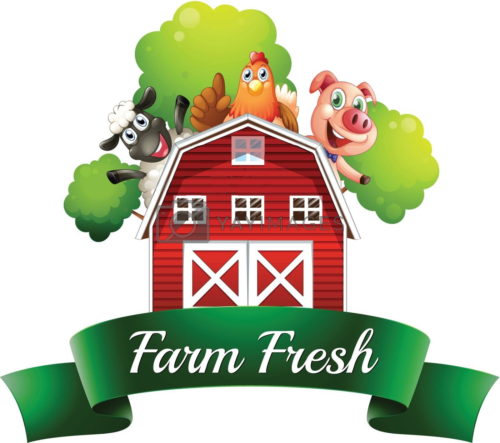 Illustration of a farm fresh label with a farmhouse and farm animals on a white background