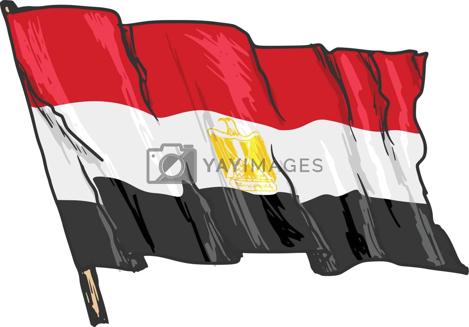hand drawn, sketch, illustration of flag of Egypt