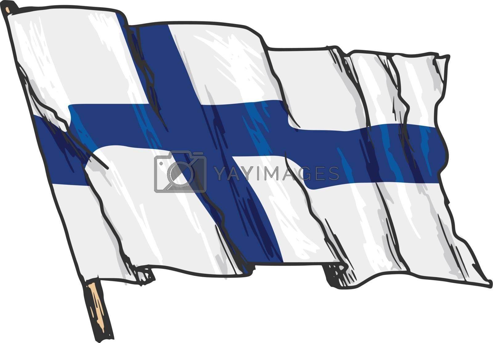 hand drawn, sketch, illustration of flag of Finland