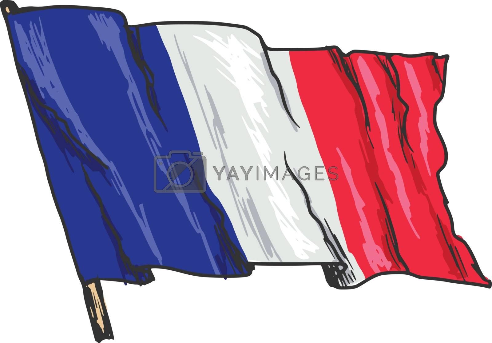 hand drawn, sketch, illustration of flag of France