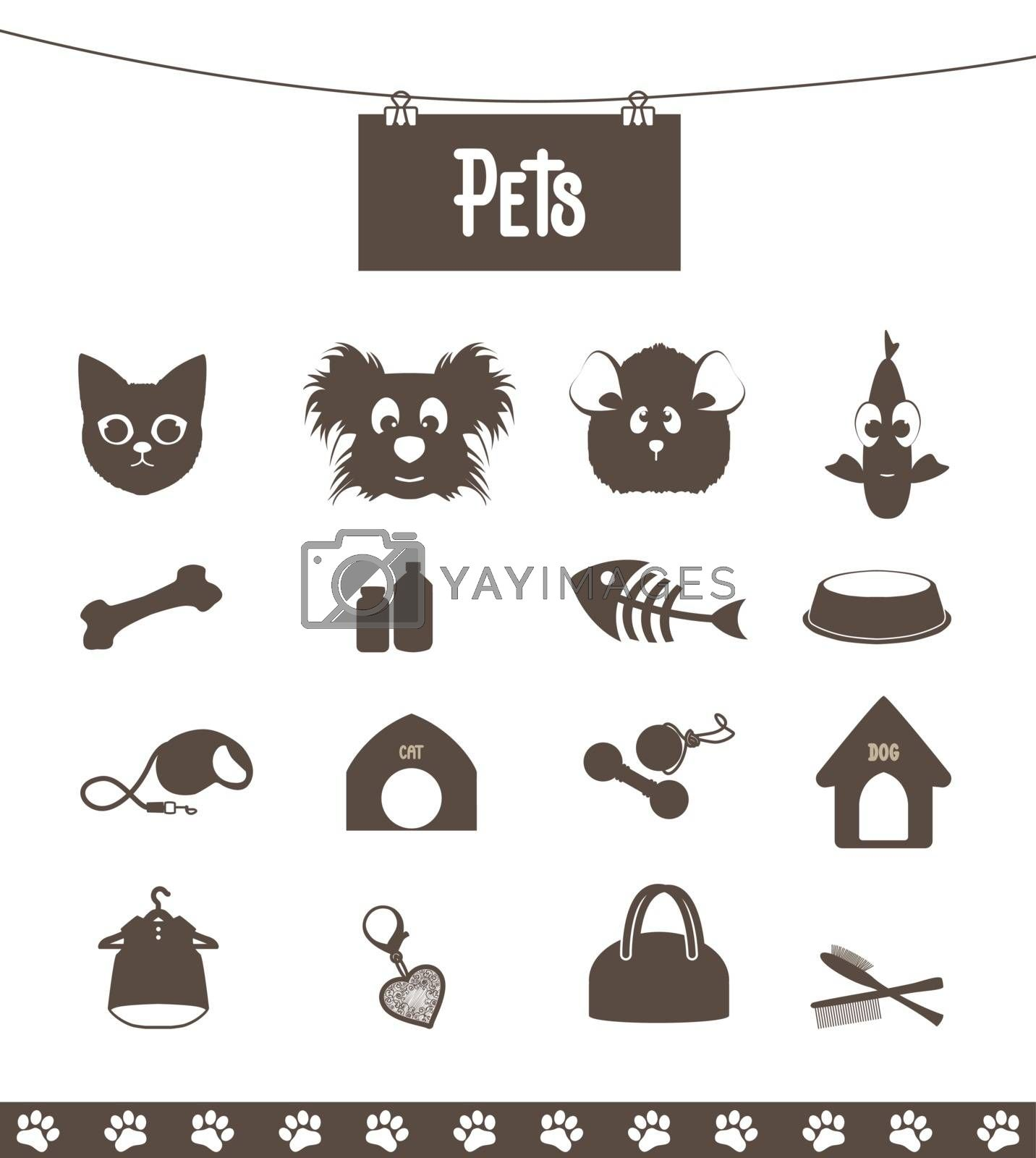 set of icons pets for web and pet shop
