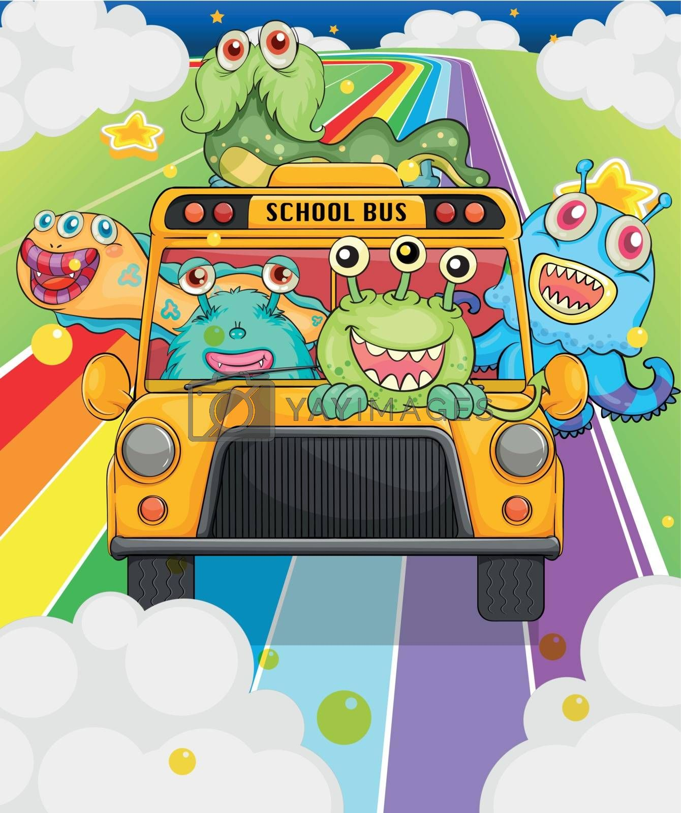 Illustration of a school bus with monsters