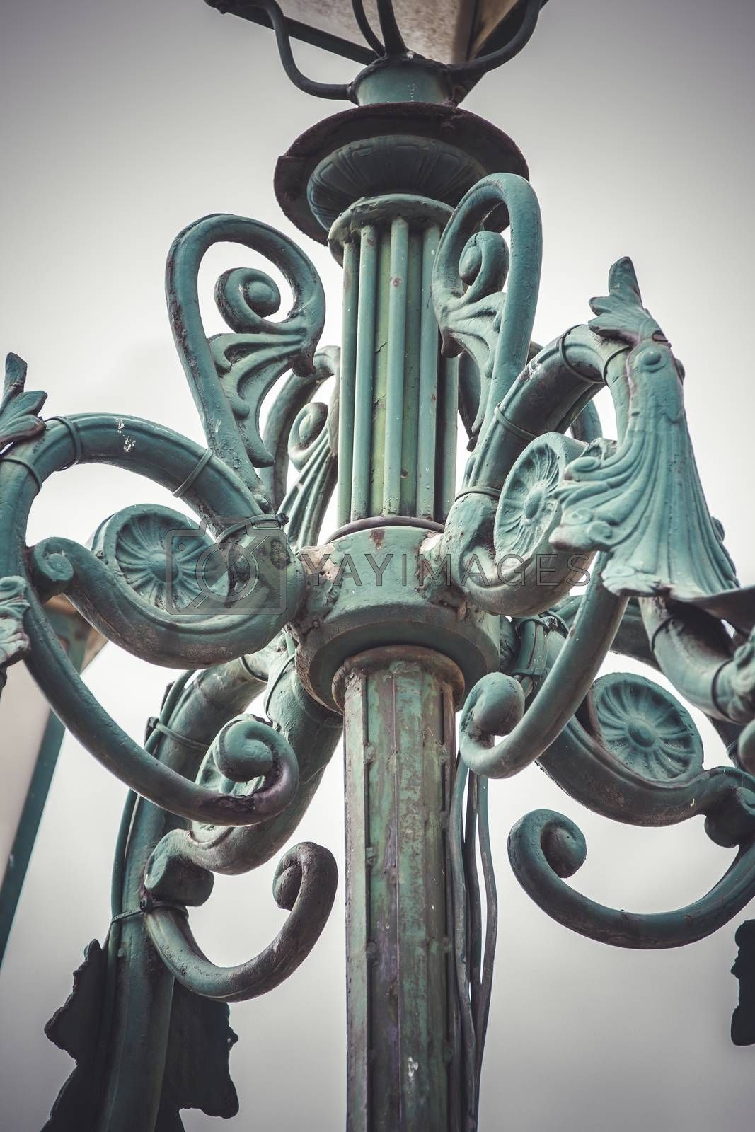 retro, traditional street lamp with decorative metal flourishes