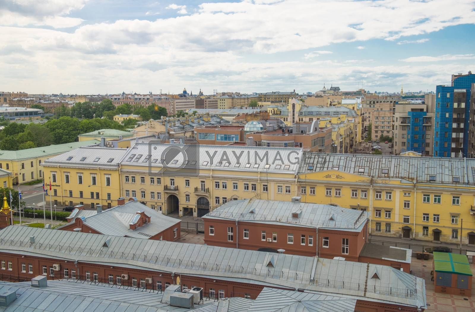 The view of the roofs of Sankt Petersburg, Russia