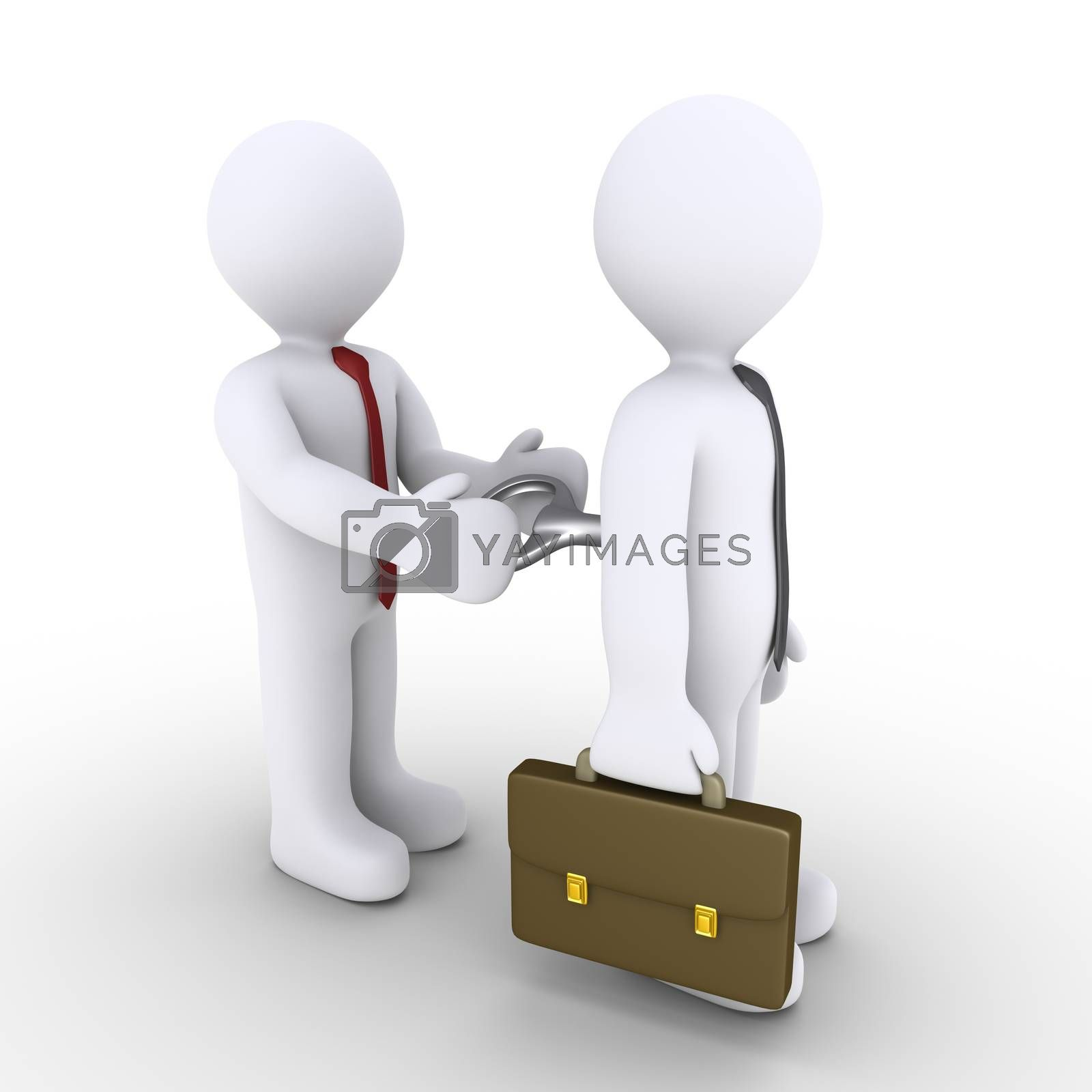 Businessman is being winded up by another