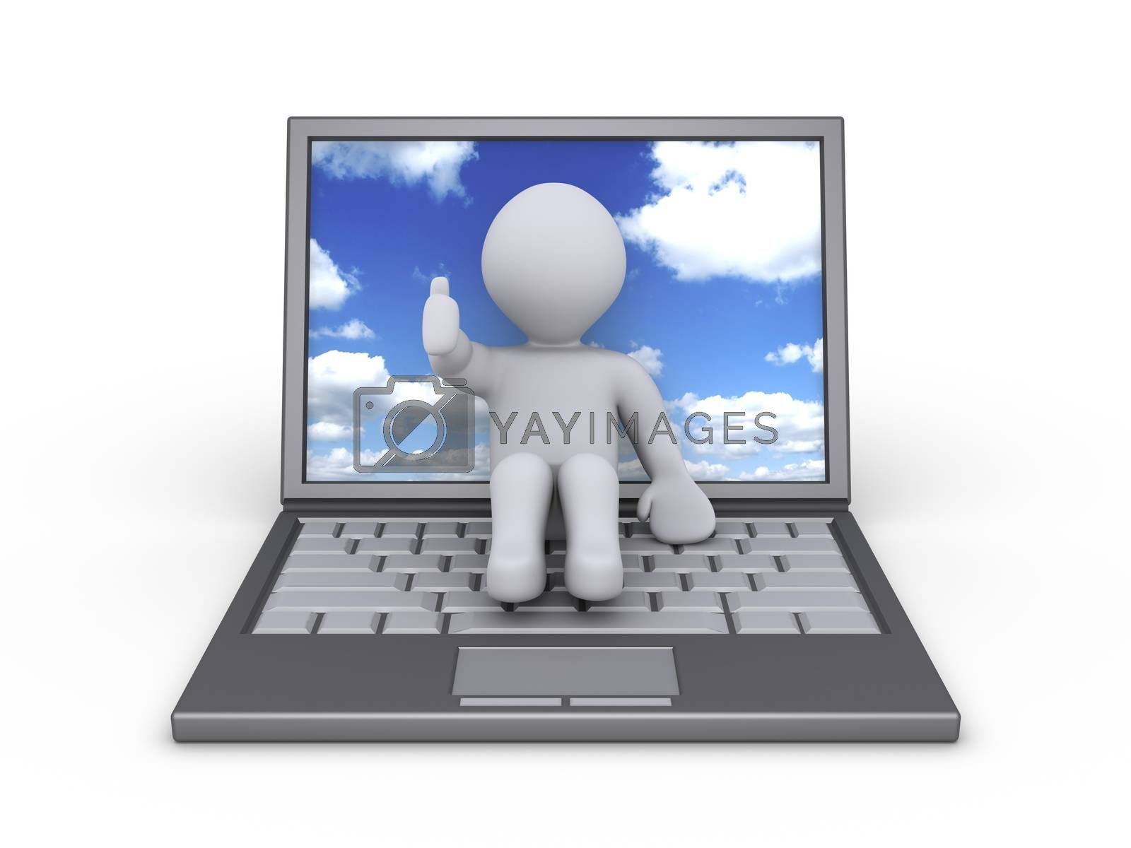Person sitting on a laptop with sky and clouds on the screen