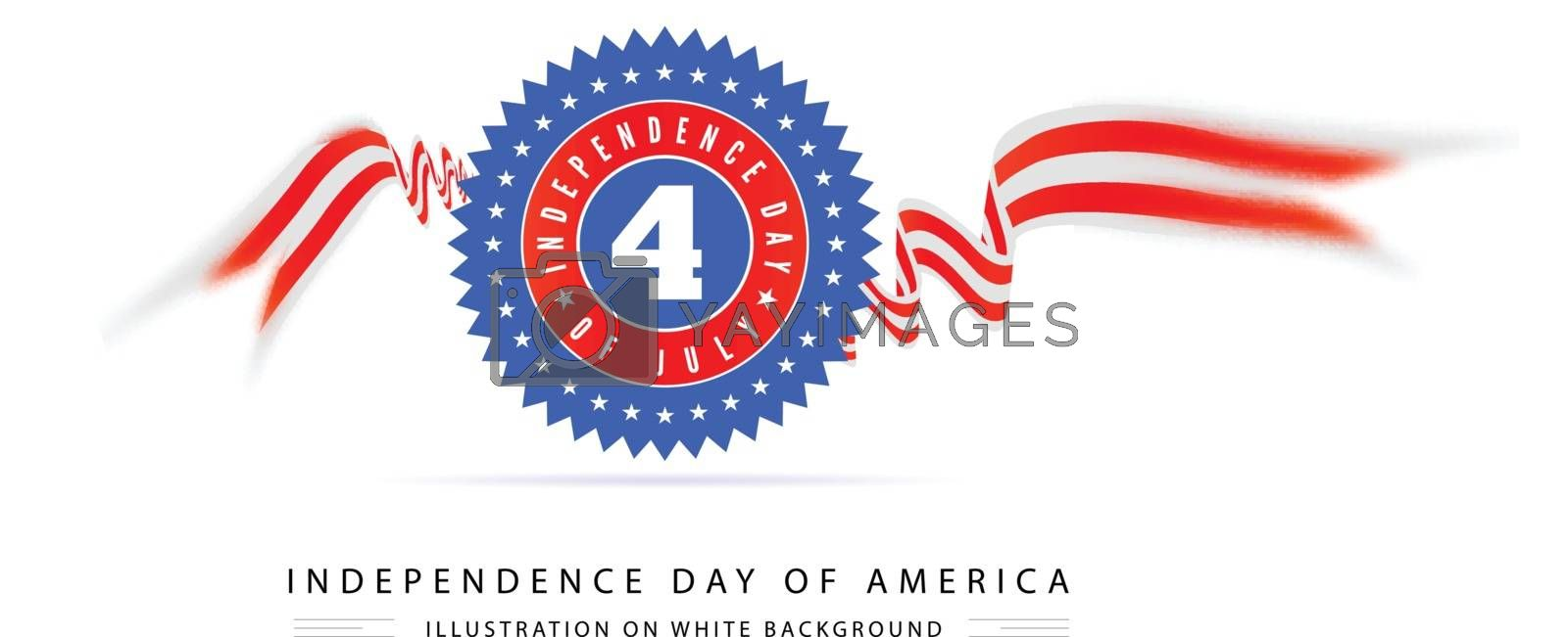 Fourth of july american independence on white background