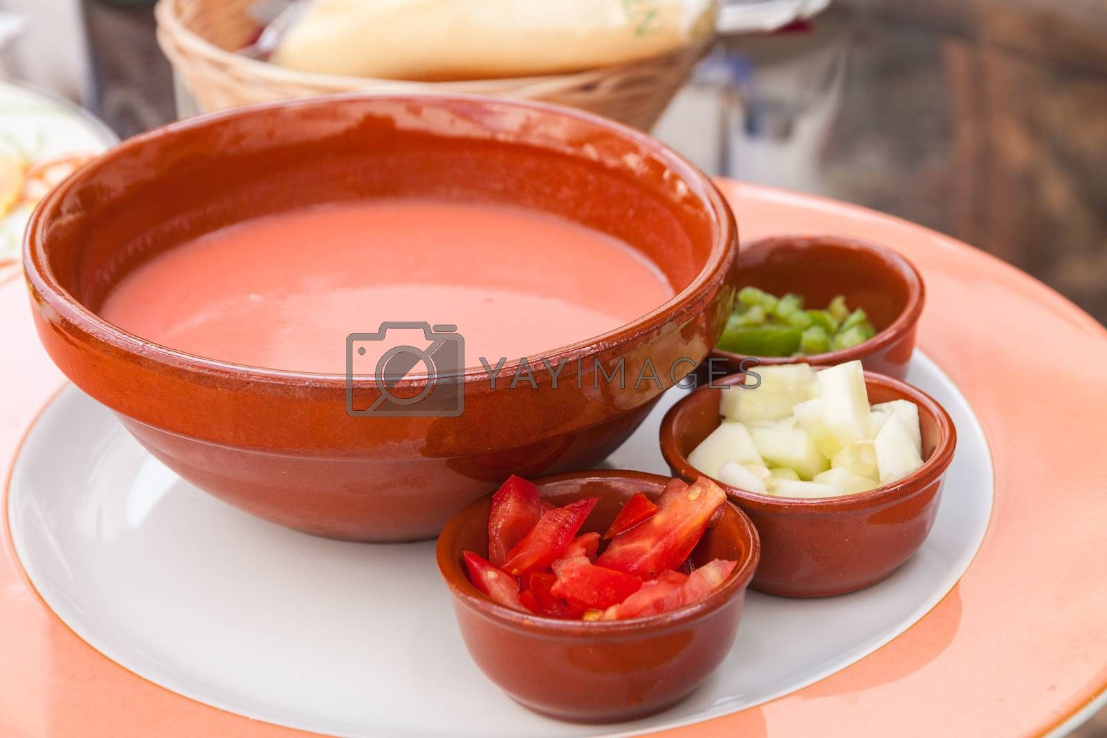 Typical ice-cold and spicy vegetable soup of Andalusia, Spain