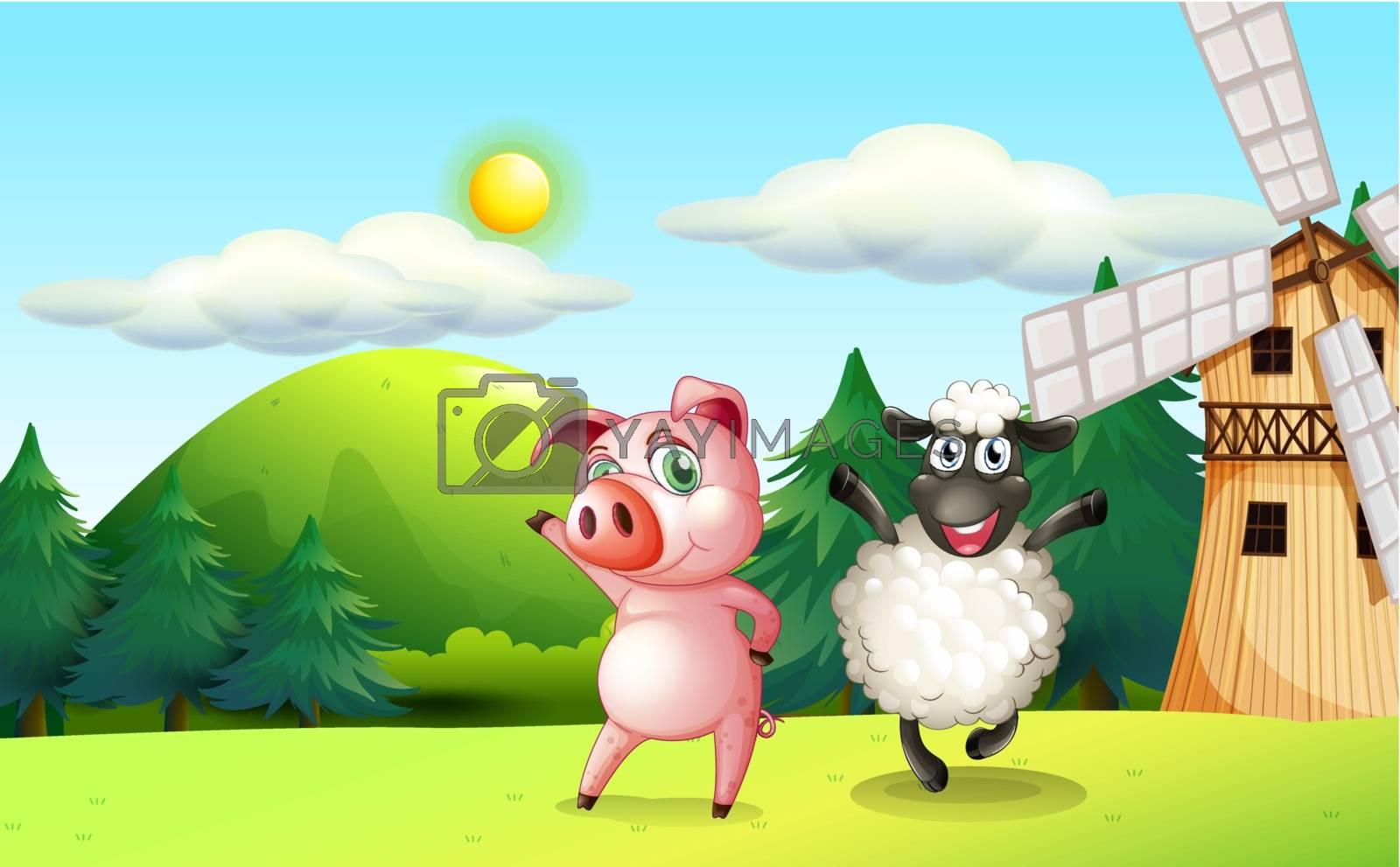 Illustration of the farm animals dancing near the windmill