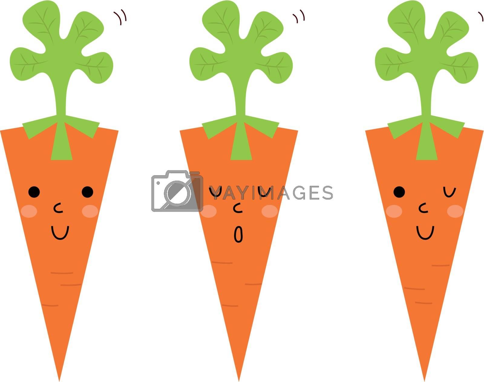 Cute Carrot cartoon collection. Vector Illustration