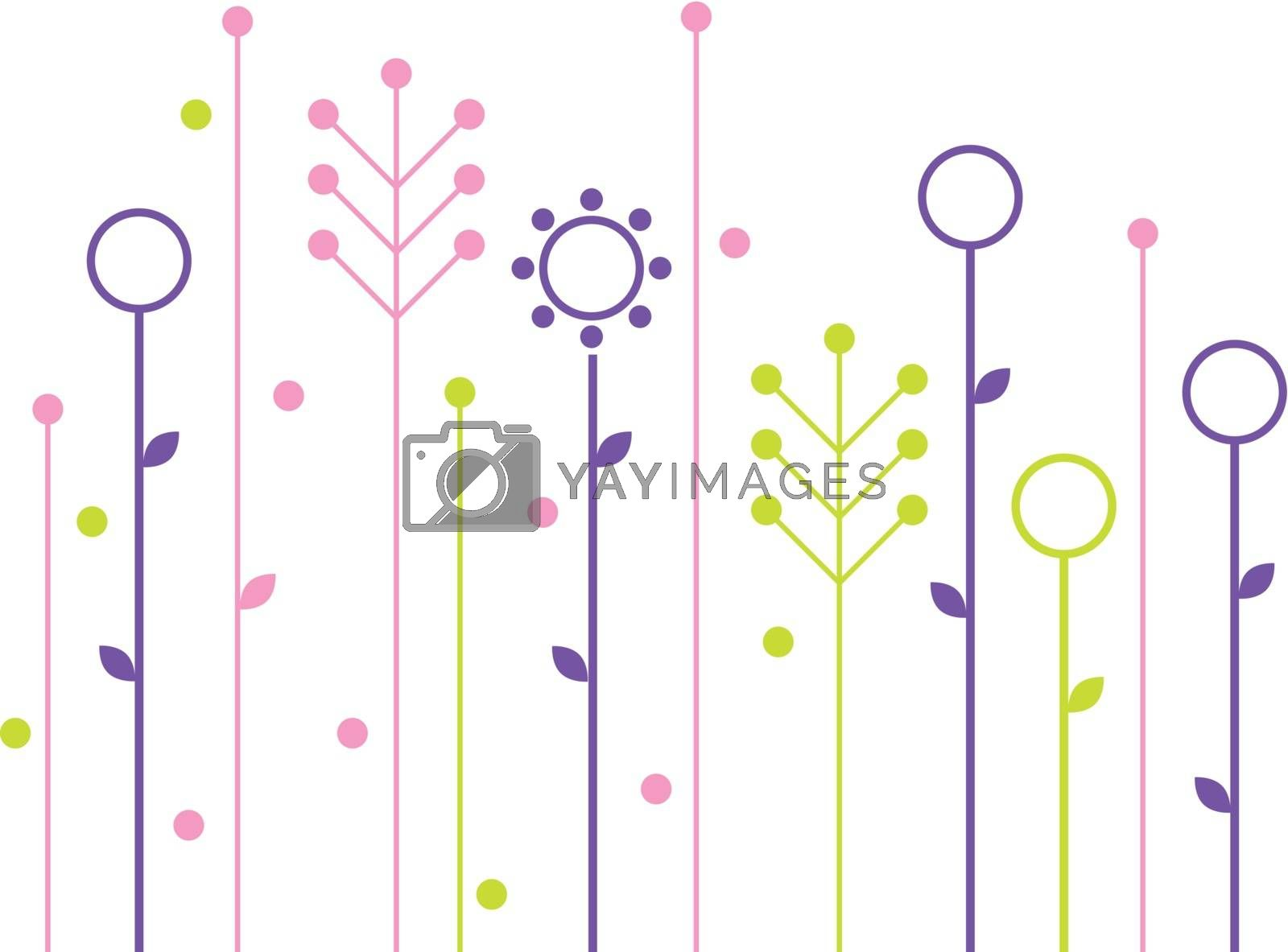 Simple abstract spring flowers design by Lordalea