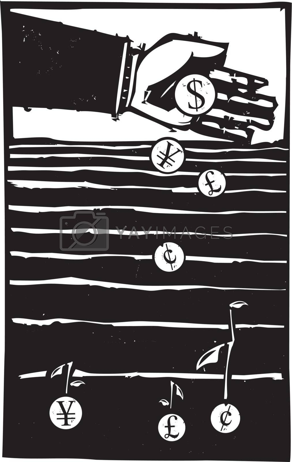 Woodcut style expressionist image of a bankers hand planting coins in a field growing money.