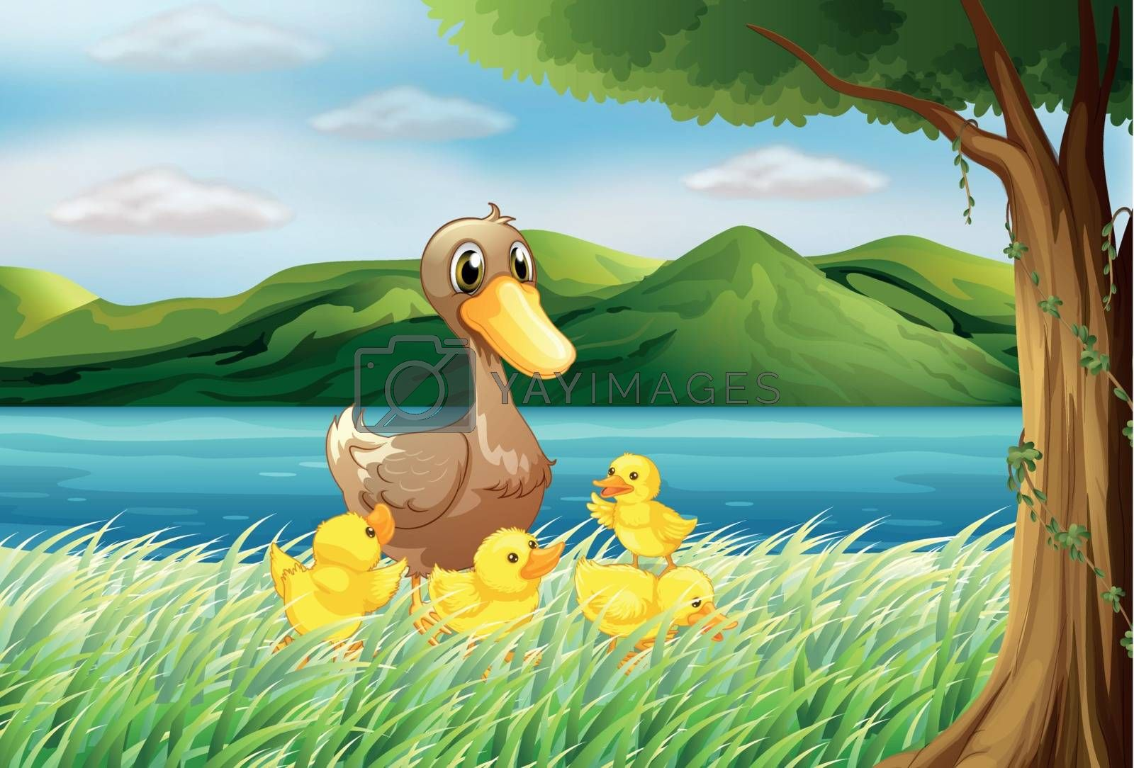 Illustration of the five ducks at the riverbank