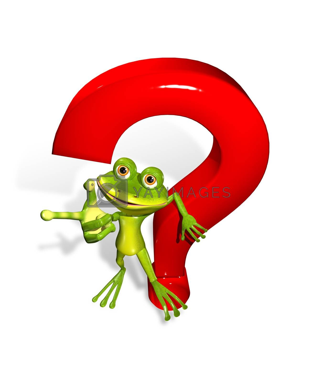abstract illustration of the frog with a question mark
